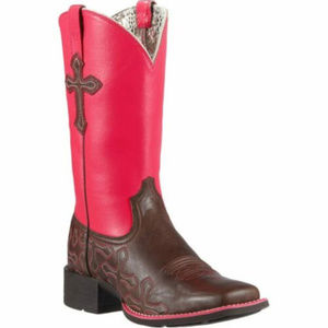 NEW ARIAT CROSSOADS BROWN & RED LEATHER COWBOY